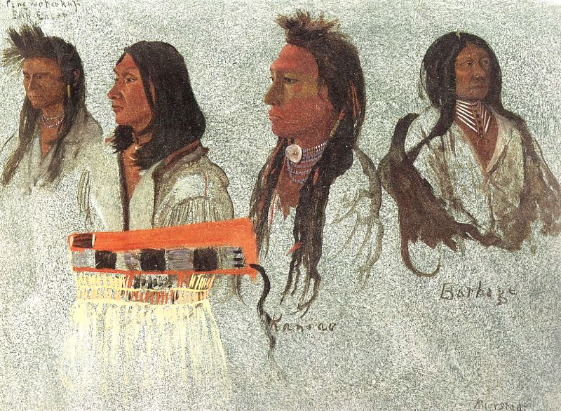Four Indians, 1859, on paper