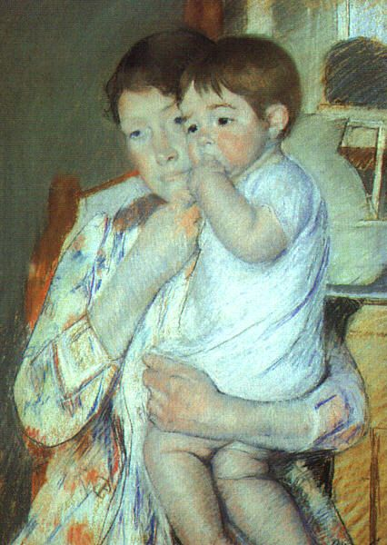 Mother and Child Against a Green Background (Maternity), 1897, pastel on beige paper mounted on canvas