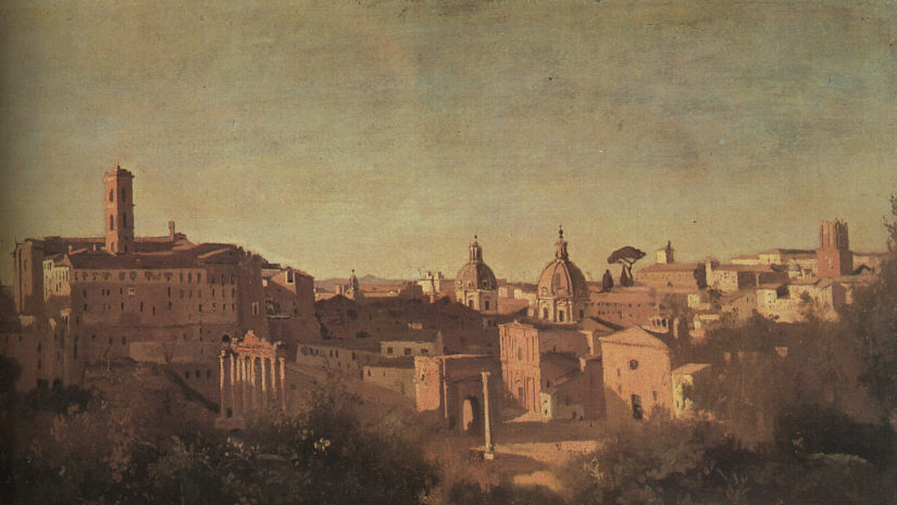 The Forum Seen from the Farnese Gardens, 1826, on paper mounted on canvas