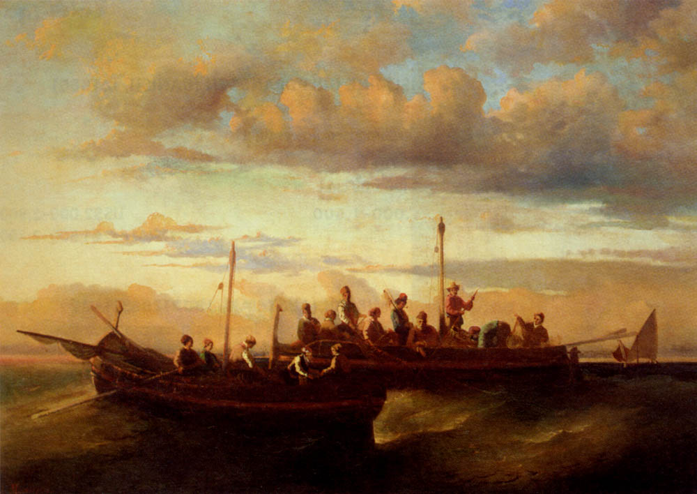 Joseph Thomas Italian Fishing Vessels At Dusk