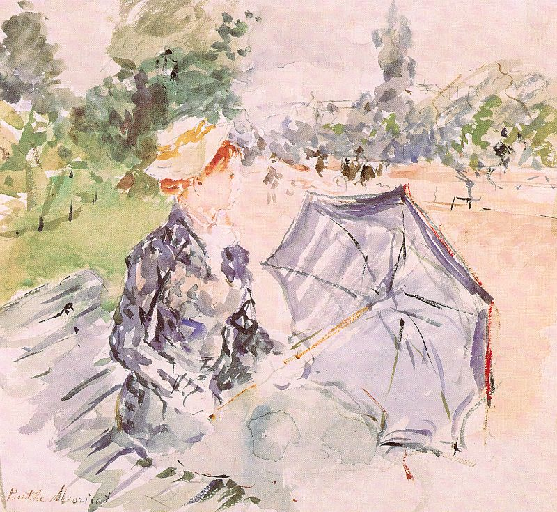 Lady with a Parasol Sitting in a Park, 1885, watercolor on paper