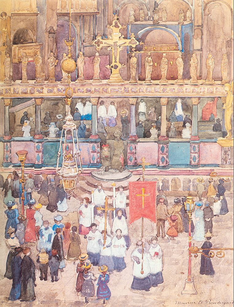 Easter Procession, St Mark's, 1898-99, watercolor and pencil on paper