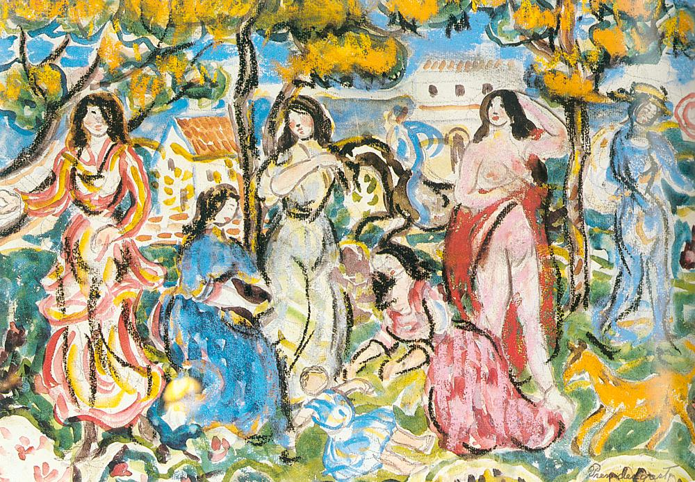 Figures in a Landscape, 1912-15, watercolor, charcoal, pastel and pencil on paper
