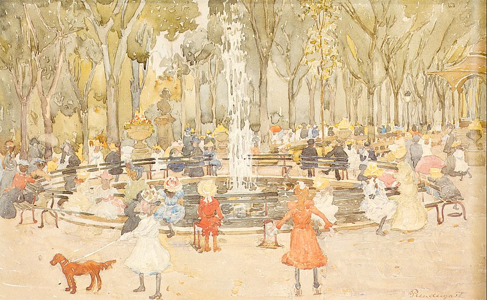 In Central Park, New York, 1900-03, watercolor and pencil on paper