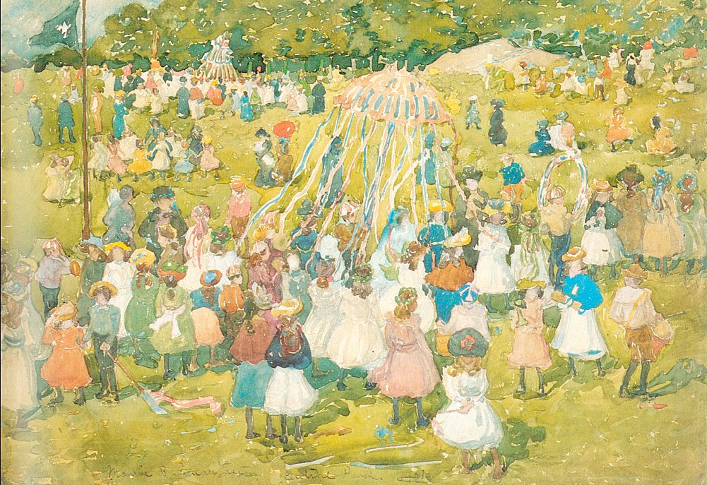 May Day, Central Park, 1901, watercolor and pencil on paper