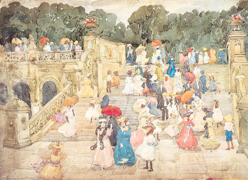 The Mall, Central Park, 1901, watercolor and pencil on paper
