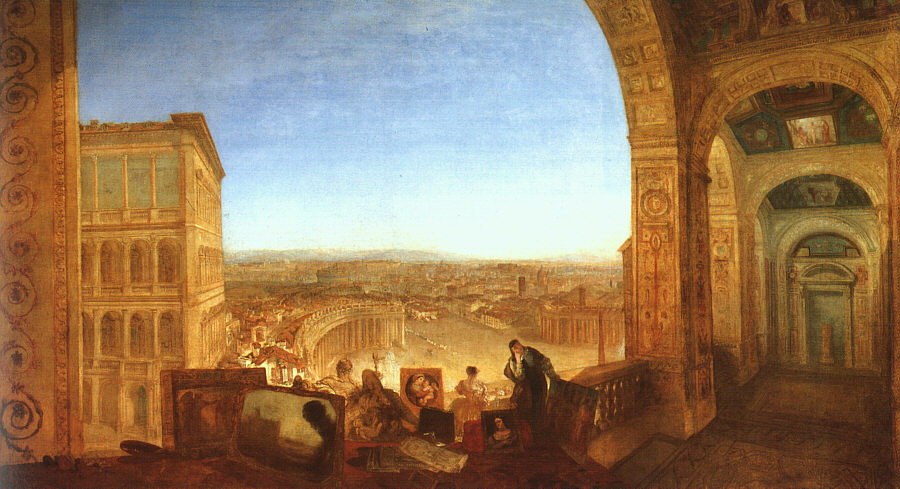 Rome from the Vatican (Raffaelle accompanied by La Fornarina, preparing his pictures for the decoration of the Loggia), 1820
