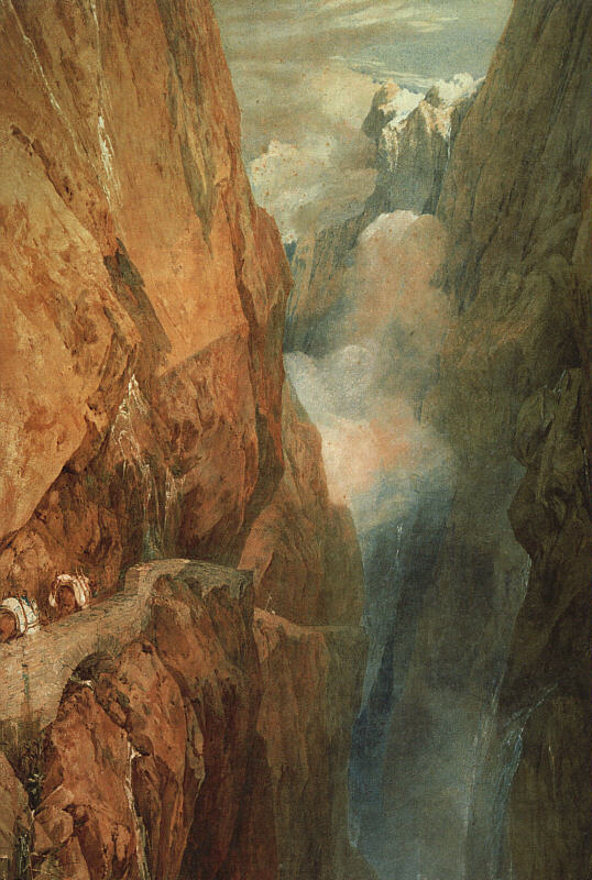 The Passage of the St Gothard, 1804, watercolor with scraping-out