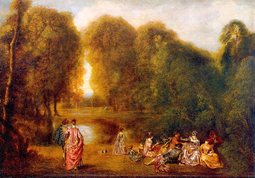 Gathering in a Park, 1718, oil on walnut panel