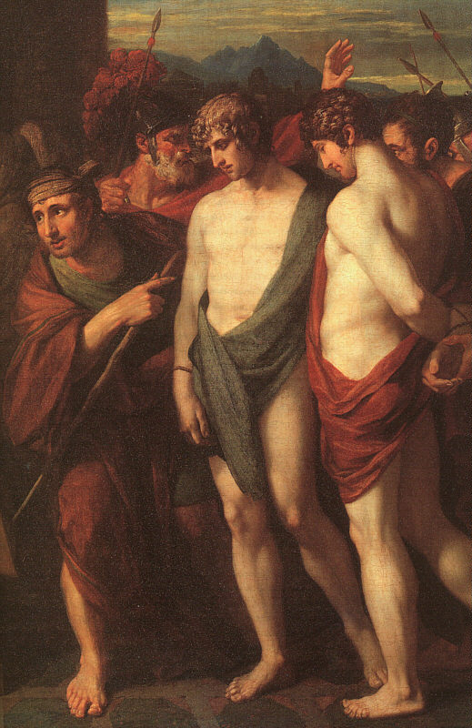 Pylades and Orestes Brought as Victims to Iphigenia, detail, 1766